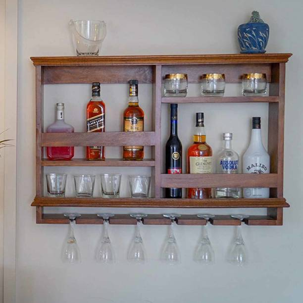 Timberly Bar Cabinet, Wine Rack with Glass storage, Wall hanging Mini Bar for Home, Solid Wood Bar Cabinet