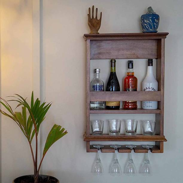 Timberly Bar Cabinet, Wine Rack with Glass storage, Wall hanging Mini Bar for Home Solid Wood Bar Cabinet
