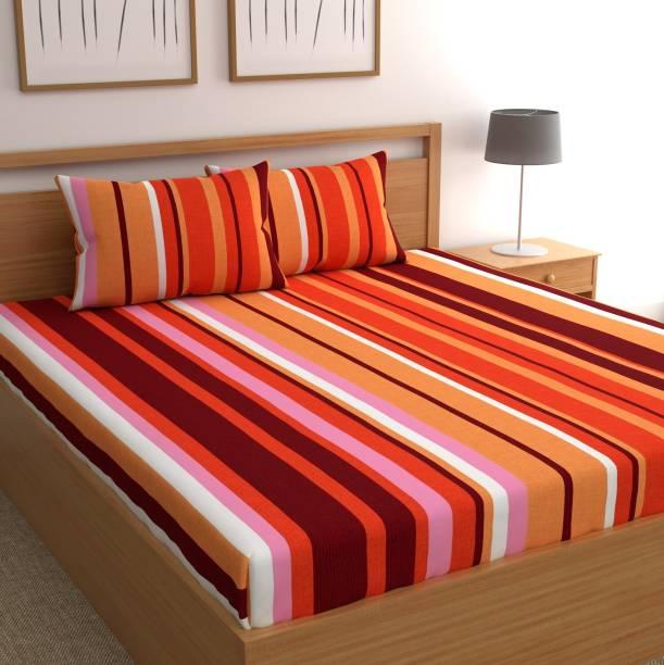 CHHAVI INDIA 120 TC Microfiber Double Striped Bedsheet