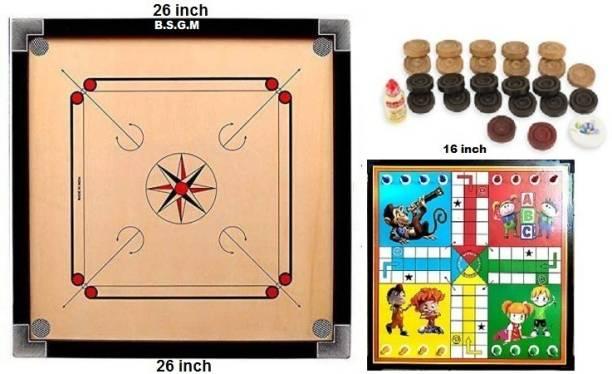B.S.G.M Carrom 26 inch With Ludo board Game Carrom Board Board Game