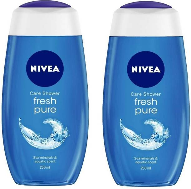 NIVEA Fresh Pure Sea Minerals & Aquatic scented Bathing Gel Each 250 ml Pack of 2