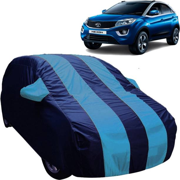 UK Blue Car Cover For Tata Nexon (With Mirror Pockets)