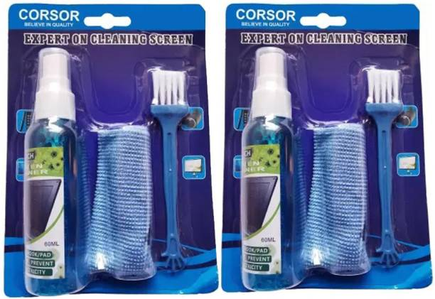 CORSOR Screen Cleaning Kit for PC, Laptops, Monitors, Mobiles, LCD, LED, TV/Professional Quality with Micro Fibre Cloth and Brush for Computers, Laptops, Mobiles (Set of-2) for Laptops, Computers, Gaming, Mobiles