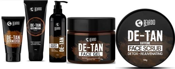 BEARDO Ultimate De-Tan Combo (De-Tan Facewash for Men 100ml,De-Tan Peel Off Mask 100g,De-Tan Bodywash for Men 200ml,De-Tan Face Gel for Men 50g,De-Tan Face Scrub 100g)