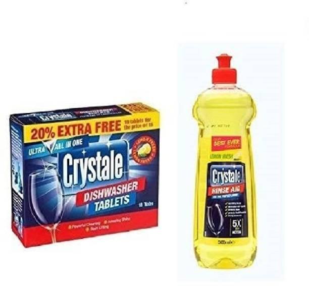 Crystale Rinse Aid Lemon & Dishwasher 18 Tablets Combo Dishwash Bar