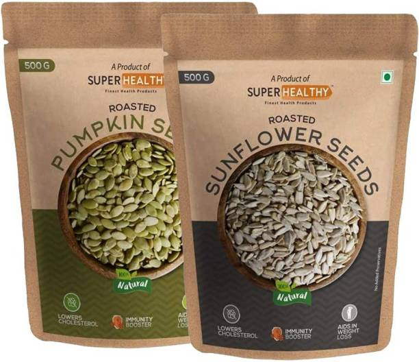Super Healthy combo of Roasted Sunflower Seeds & Roasted Pumpkin Seeds | Organic and Crunchy Sunflower Seeds for Eating (500g)|Organic and Crunchy Pumpkin Seeds for Eating (500g)