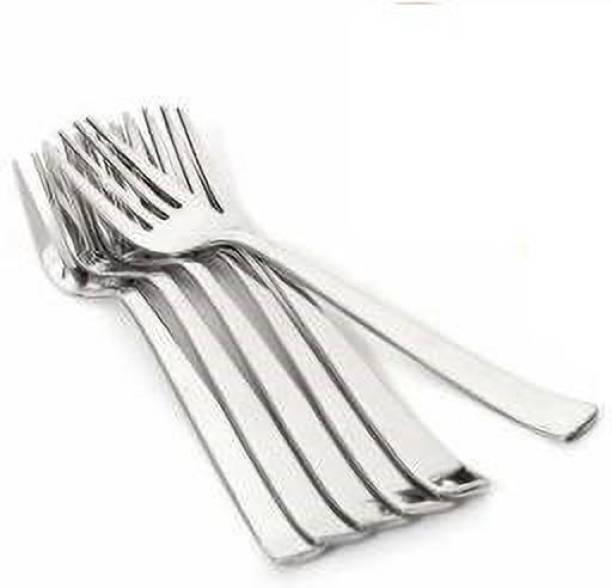 chapo Stainless Steel Dinner Fork Set, Silver (Pack of 6) Stainless Steel Fruit Fork, Salad Fork, Dinner Fork Set