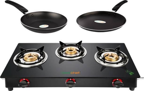 Greenchef Alpha Gas stove combo - Smart 3 Burner Glass stove + Flat Tawa 250mm + Fry Pan 240mm Glass Manual Gas Stove