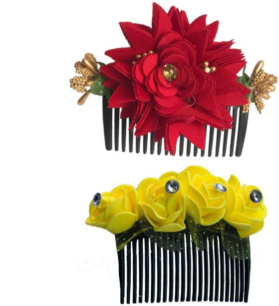 GadinFashion Bridal Fancy Hair Accessories Floral Clip Side Comb Juda Pin for Women and Girls Pack-02,Color Red & Yellow Bun Clip