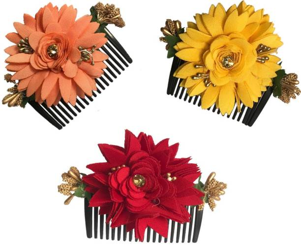 GadinFashion Bridal Fancy Hair Accessories Floral Clip Side Comb Juda Pin for Women and Girls Pack-03,Multicolor Bun Clip