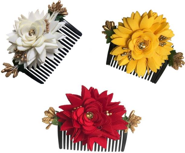 GadinFashion Bridal Fancy Hair Accessories Floral Clip Side Comb Juda Pin for Women and Girls Pack-03,Color-Multi Bun Clip