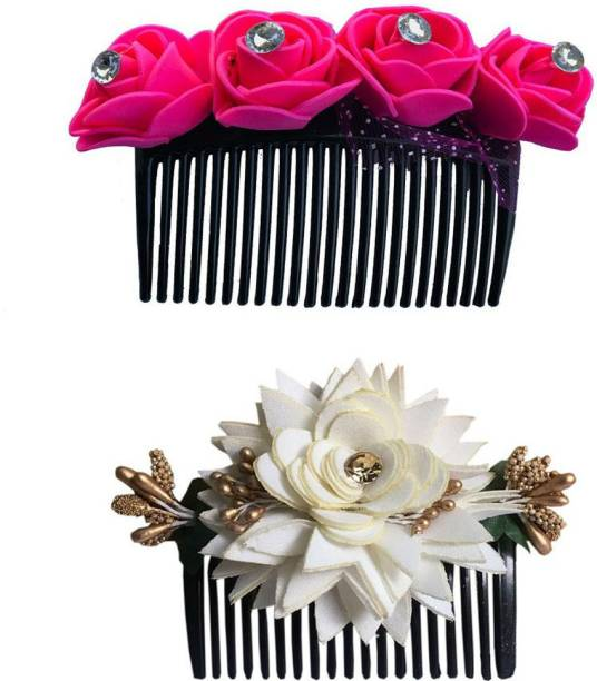 GadinFashion Bridal Fancy Hair Accessories Floral Clip Side Comb Juda Pin for Women and Girls Pack-02,Color-Pink & White Bun Clip