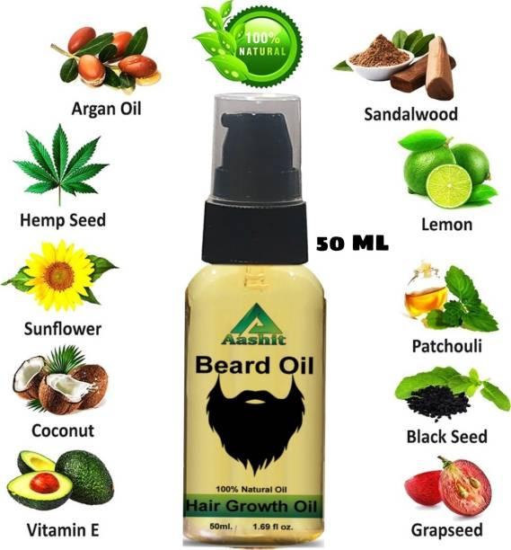 Aashit 100% Natural Beard Growth Oil - (Almond and Thyme) Hair Oil (50 ml) Hair Oil