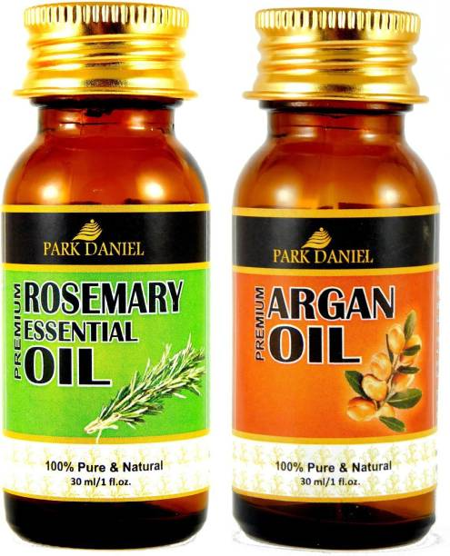 PARK DANIEL Rosemary Essential Oil and Argan Oil- 100 % Pure and Natural Combo of 2 No. Bottles(60 ml) Hair Oil