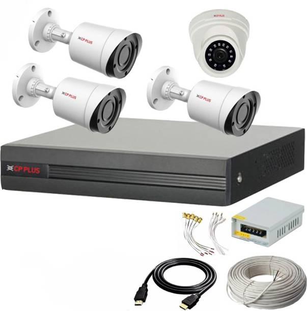CP PLUS 4 Channal HD DVR 1080p 1Pcs,Outdoor Camera 2.4 MP 3Pcs,Indoor Camera 2.4 MP 1Pcs,combo set Security Camera