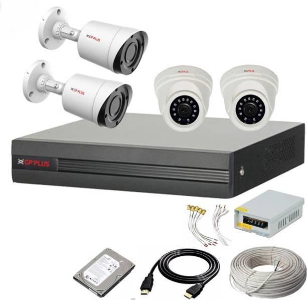 CP PLUS 4 Channal HD DVR 1080p 1Pcs,Outdoor Camera 2.4 MP 2Pcs,Indoor Camera 2.4 MP 2Pcs,1 TB Hard Disk,Full combo set Security Camera