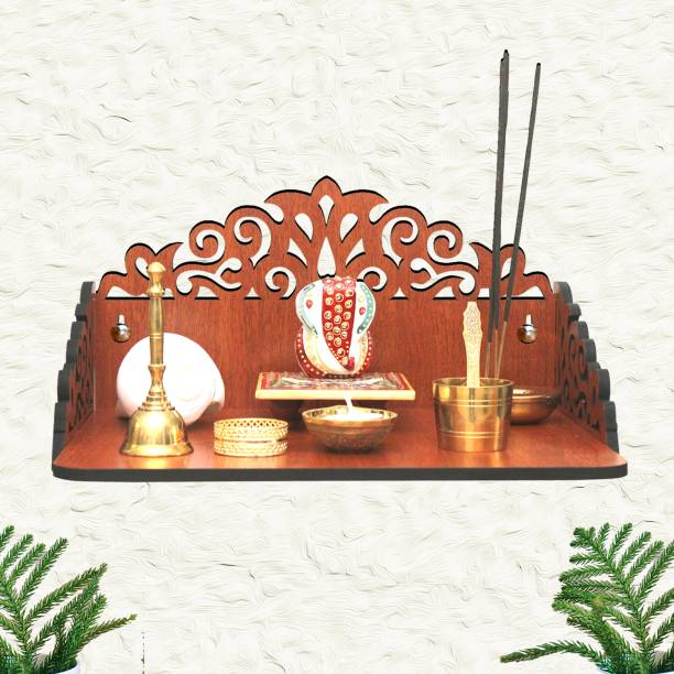 CSEL Wooden Beautiful Mandir Pooja Room Home Decor Office OR Home Temple Wall Hanging Product (Width 13 Inch, Height 7 inch, Length 9.5 Inch) Engineered Wood Home Temple