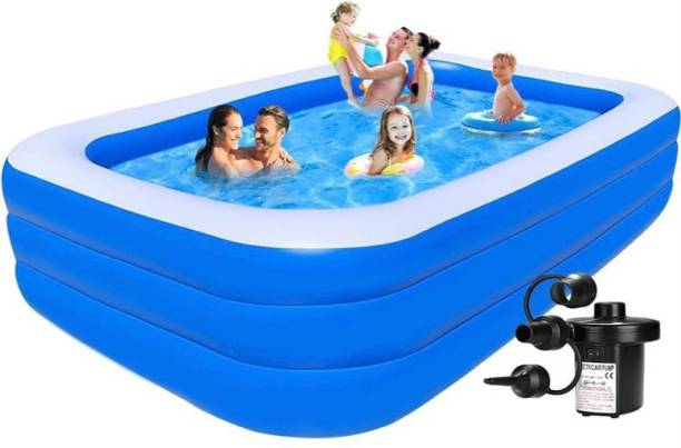 Thelharsa Toys Inflatable Pool For Kids and Adults 10 Ft Family Swimming Pool , Pool For Backyard, Outdoor, Party (And Get an 3 Nozzles Electric Pump For Free) Inflatable Swimming Pool
