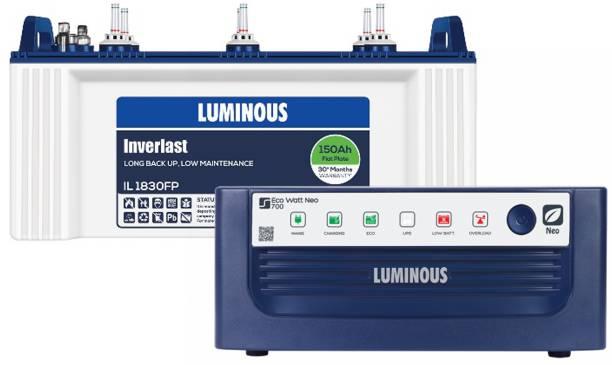 LUMINOUS Inverlast IL1830FP 150AH + Eco Watt Neo 700 Inverter Flat Plate Inverter Battery