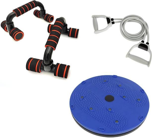 LIVOX Heavy Quality Tummy Twister AND PUSH UP BAR , Resistance Tube Home Gym Kit