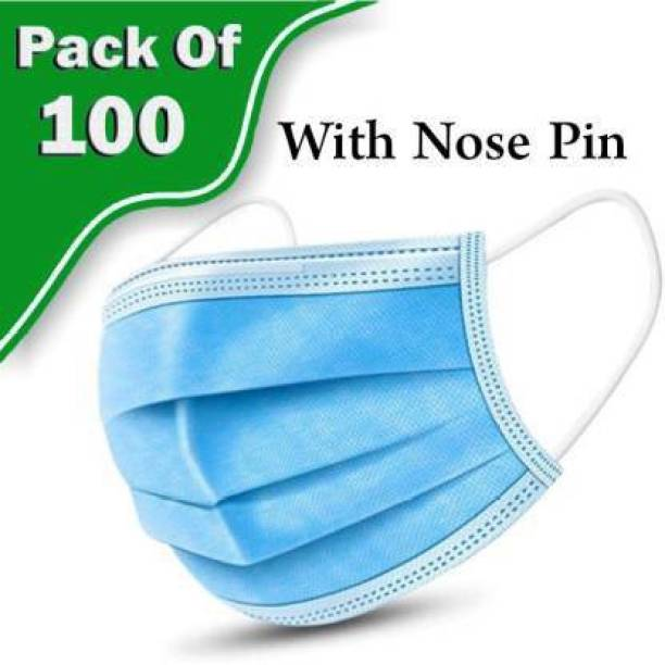 TAOS 3 Layer Disposable 100 Pieces Spun Bond Non-Woven Fabric CE,ISO and WHO-GMP Certified (BFE)?98.5%, Particle Filtration Efficiency(PEE)?94% with Adjustable Pin Inside Surgical Mask With Melt Blown Fabric Layer (Blue, Free Size, Pack of 100, 3 Ply) SURGICAL-10 mask 112 Surgical Mask