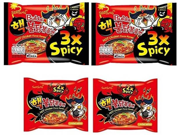 Samyang 3X & 2X Spicy Hot Chicken Flavour Instant Korean Noodles , 4X140 Gm (Pack of 4) (Imported) (Combo Pack) Hakka Noodles Non-vegetarian