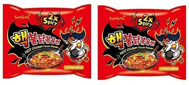 Samyang 2X Spicy Hot Chicken Flavour Instant Korean Noodles , 2X140 Gm(Pack of 2) (Imported) Hakka Noodles Non-vegetarian