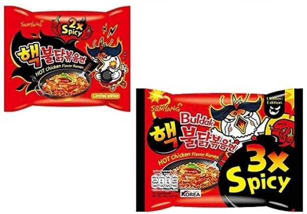 Samyang 3X & 2X Spicy Hot Chicken Flavour Instant Korean Noodles , 2X140 Gm (Pack of 2) (Imported) (Combo Pack) Hakka Noodles Non-vegetarian