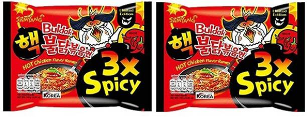 Samyang 3XSpicy Hot Chicken Flavour Instant Korean Noodles , 2X140 Gm(Pack of 2) (Imported) Hakka Noodles Non-vegetarian