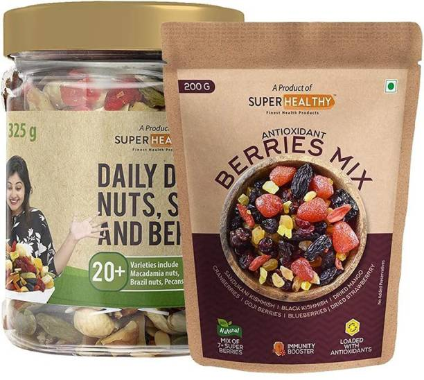 Super Healthy combo of Organic Trail Mix & organic berry mix | 20 + Varieties : in nuts and seeds (325 g)| 7+ Varieties in organic berry mix (200 g)
