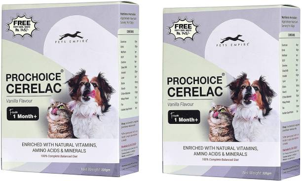 PETS EMPIRE Prochoice Puppy Cerelac -320 GMS Keeps Digestive System Healthy (Vanilla) Pack of 2 Vanilla 0.64 kg (2x0.32 kg) Dry New Born Dog Food