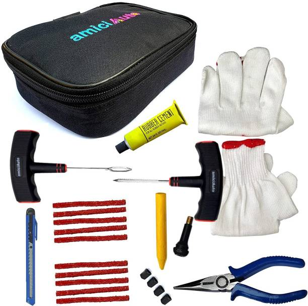 amiciAuto Puncture Repair Complete Kit For Car and Bike Complete Tyre Repair Kit With Easy Storage Nylon Black Bag And Extra Strip Tubeless Tyre Puncture Repair Kit
