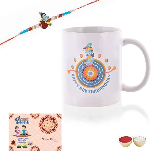 Celebration Art Designer Rakhi, Greeting Card, Mug  Set