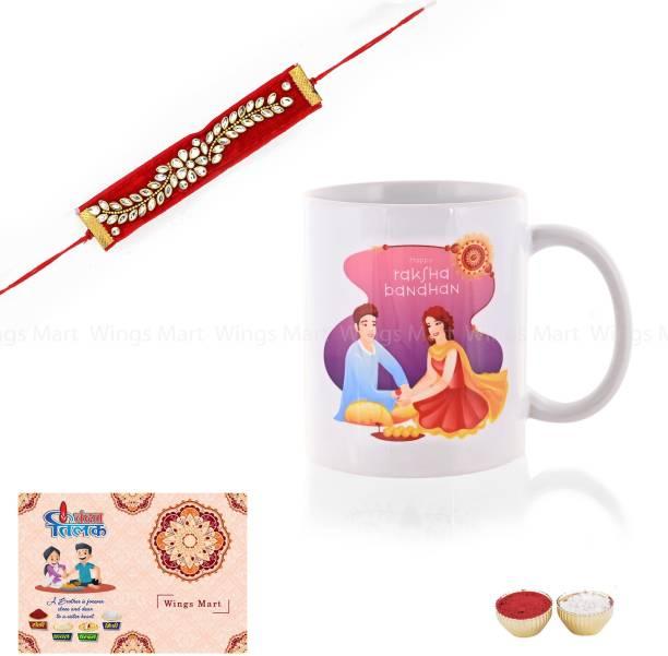 Celebration Art Rakhi, Greeting Card, Mug  Set