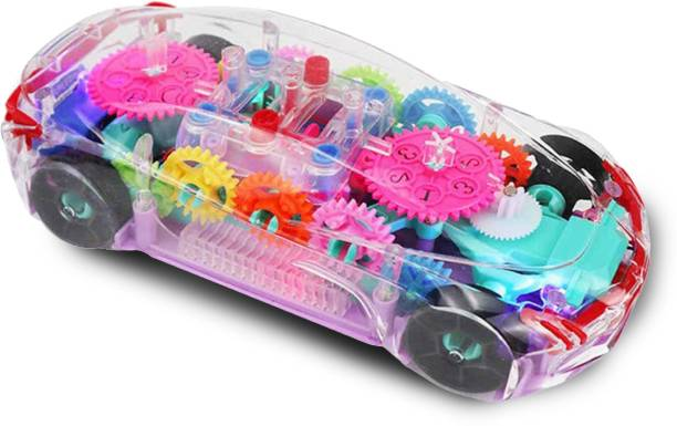 Miss & Chief Transparent Concept car 3D Super Car Toy, Car Toy for Kids with 360 Degree Rotation, Gear Simulation Mechanical Car, Sound & Light Toys for Kids Boys & Girls (Multicolor)
