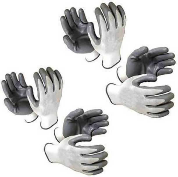 ETS 4 Pair White Reusable Washable Cut Resistance Hand Safis Anti Cut Hand Gloves Care PVC coated Nylon Safety Gloves Frontier Combo of Knife Cut Resistant Hand Safety Glove Nylon  Safety Gloves