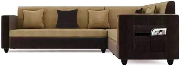 Flipkart Perfect Homes Carmela 6 Seater Fabric Corner Sofa Set (Beige-Brown) Fabric 6 Seater  Sofa