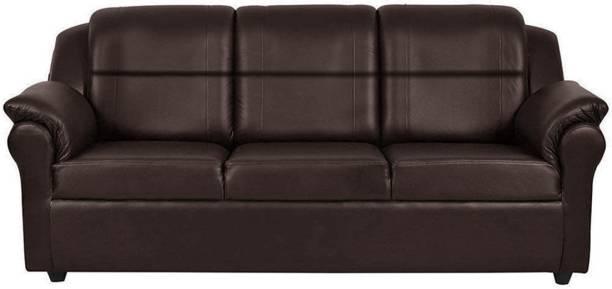 Flipkart Perfect Homes Micha 3 Seater Leatherette Sofa Set (Brown) Leatherette 3 Seater  Sofa