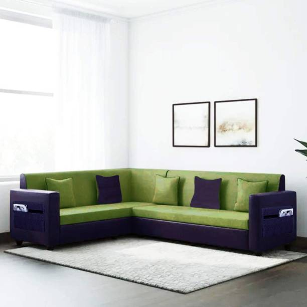 Flipkart Perfect Homes Carmela 6 Seater Fabric Corner Sofa Set (Green-Blue) Fabric 6 Seater  Sofa