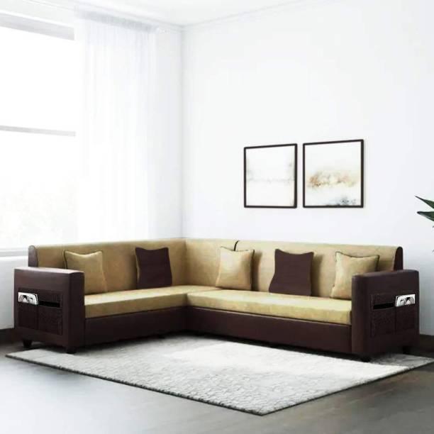 Flipkart Perfect Homes Carmela 6 Seater Fabric & Leatherette Corner Sofa Set (Beige-Brown) Fabric 6 Seater  Sofa