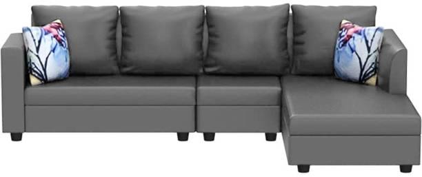 Flipkart Perfect Homes Rosetta 6 Seater Leatherette RHS L Shape Sofa Set (Grey) Leatherette 6 Seater  Sofa