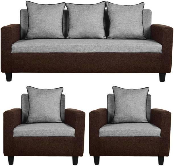 Flipkart Perfect Homes Fabric 3 + 1 + 1 Brown Sofa Set