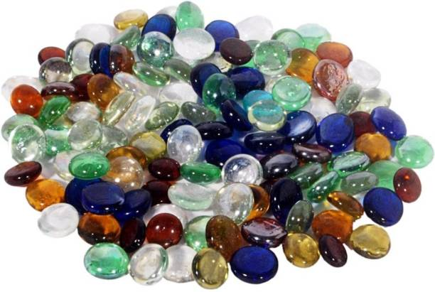 ELETTRA Decorative Shiny Round Glossy Glass Stone Pebbles For Aquarium Plant Pots Vase Filler Home Table Decor & Garden Outdoor Decoration (Multicolor, 500 grams) Polished, Regular Oval, Round Fire Glass Pebbles