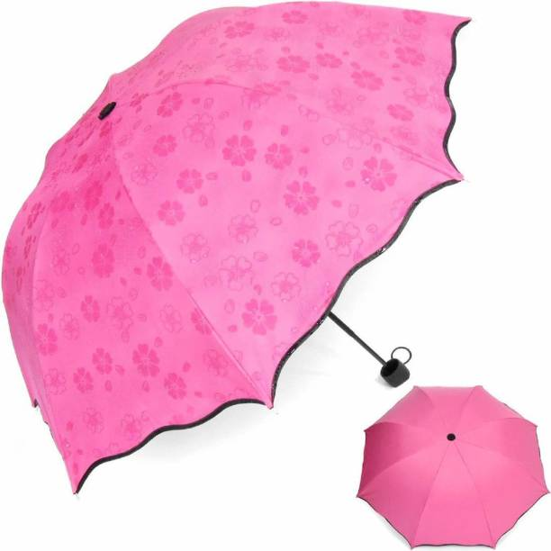 DODGE 'N WOLVES Unisex Changing Secret Blossoms Occur with Water Magic Print 3 Fold Umbrella for UV, Sun and Rain, umbrella rain for women, umbrella flower print umbrella for girls Fancy umbrella for women waterproof umbrellas Regular umbrellas Umbrella