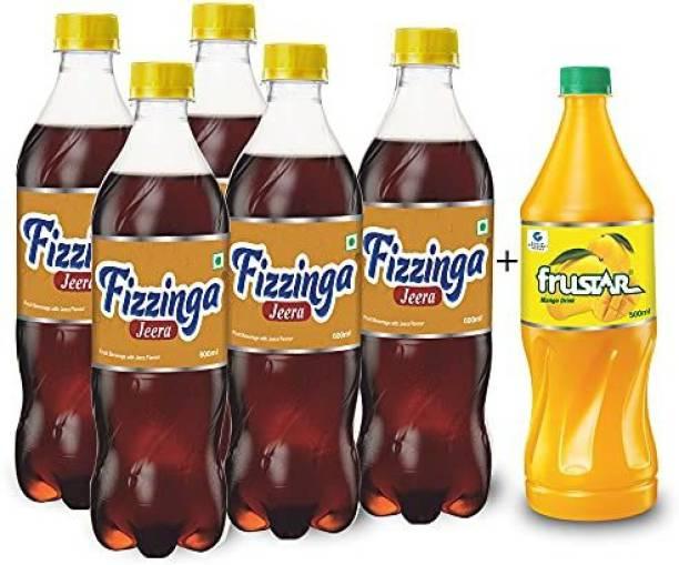 STAR 555 Fizzinga Jeera-Pack of 5 (600 ml each) + Mango 500 ml-Pack 1-Combo of 6 Plastic Bottle