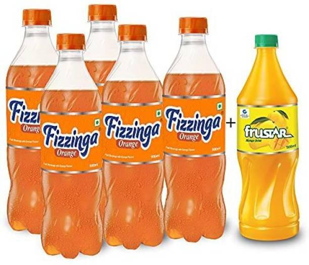 STAR 555 Fizzinga Orange-Pack of 5 (600 ml each) + Frustar Mango 500 ml-Pack 1-Combo of 6 Plastic Bottle