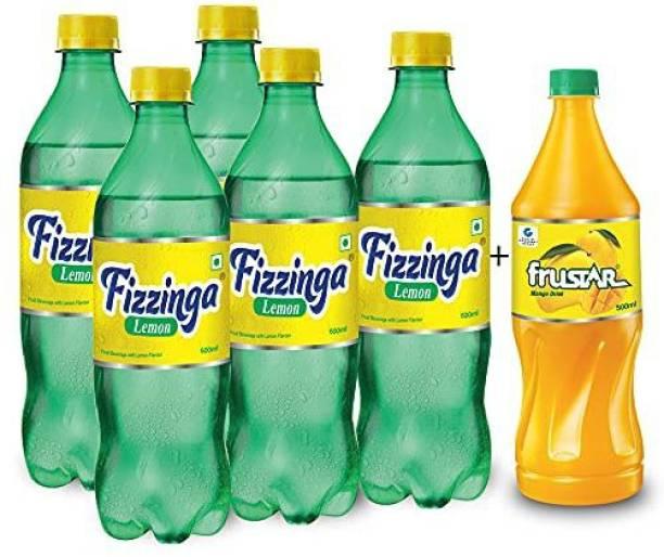 STAR 555 Fizzinga Lemon-Pack of 5 (600 ml each) + Frustar Mango 500 ml-Pack 1-Combo of 6 Plastic Bottle