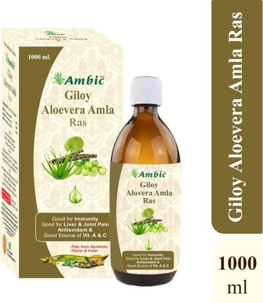 AMBIC Giloy AloeVera Amla Juice - 1L I 3-In-1 Immunity Boosting Powerful Ayurvedic Herbs I Neem Grown Giloy Stems Used No Added Sugars