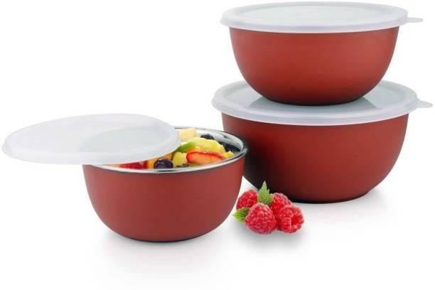 BLASTOISE MICROWAVE SAFE PLASTIC COATED U-BOWL 14/16/18 CM _RED (SET OF 3) Stainless Steel, Polypropylene Vegetable Bowl