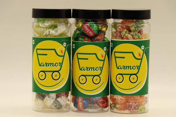 Farmory Combo of Jelly Bites 200GM , JELY Candy 175GM & PAAN Toffee 150GM in JAR ( Total 525GM ) Jelly Candy